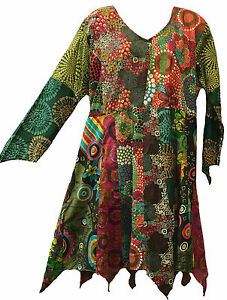 Nwt-FUNKY-STUFF-green-patch-hanky-thin-cotton-voile-TOP-TUNIC-DRESS-1X-Free-ship
