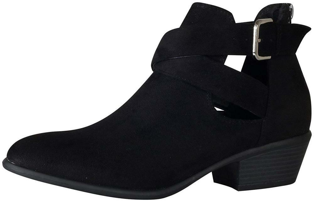 Women's Crisscross Buckle Booties Faux Suede Western Ankle Boots Cut Out Zip