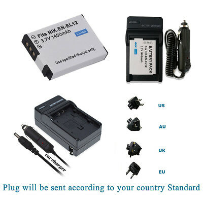 S1200pj P310 S610 /& More S1000pj Complete Starter Kit AW110 P300 EN-EL12 Rechargeable Battery Car//Home Charger for Nikon Coolpix AW100 Camcorder S1100pj P330 S31