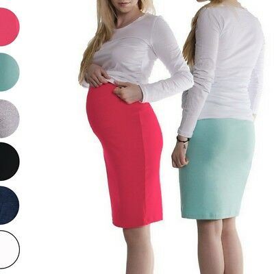 Effizient Maternity Pregnancy Knee Length Pencil Black Skirt S/m L/xl Xxl/xxxl