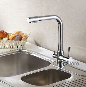 luxury 3 way kitchen sink faucet mixer tap with pure drinking water spout supply ebay. Black Bedroom Furniture Sets. Home Design Ideas