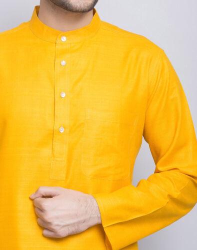 Indian mélangé Art Soie Hommes Kurta Chemise T-shirt multicolore Taille Haut Tunique Couleur Unie