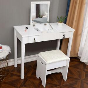 Vanity-Makeup-Dressing-Table-Set-W-Stool-Flip-Top-Mirror-2-Drawer-Writing-Desk