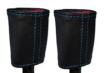 BLUE STITCH 2X FRONT LEATHER SEAT BELT SKIN COVERS FITS FORD RANGER 2006-2012