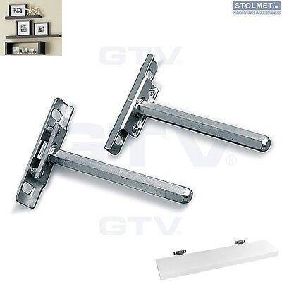 "4 x Concealed Shelf Supports Brackets Floating Hidden 112 mm / 4.4"""