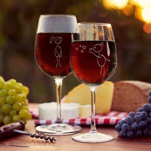 """zur Hochzeit Weinglas Set /""""Pärchen-Strichzeichnung/"""" Geschenk zum Valentinstag"""