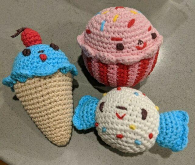 Land Of Nod Knit Candy Cupcake Ice Cream Decor Stuffed Toy -3735