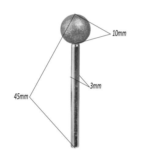3pcs 10mm Diamond Ball shape Rotary Point Burs Bits for High Speed Handpiece