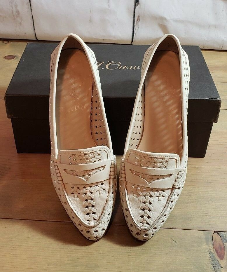 J. Crew Collins Woven Leather Loafers womans casual dressy nice