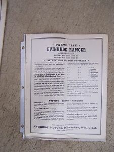1941 Evinrude Ranger Outboard Motor Parts List More Boat Stuff In Our Store S Ebay