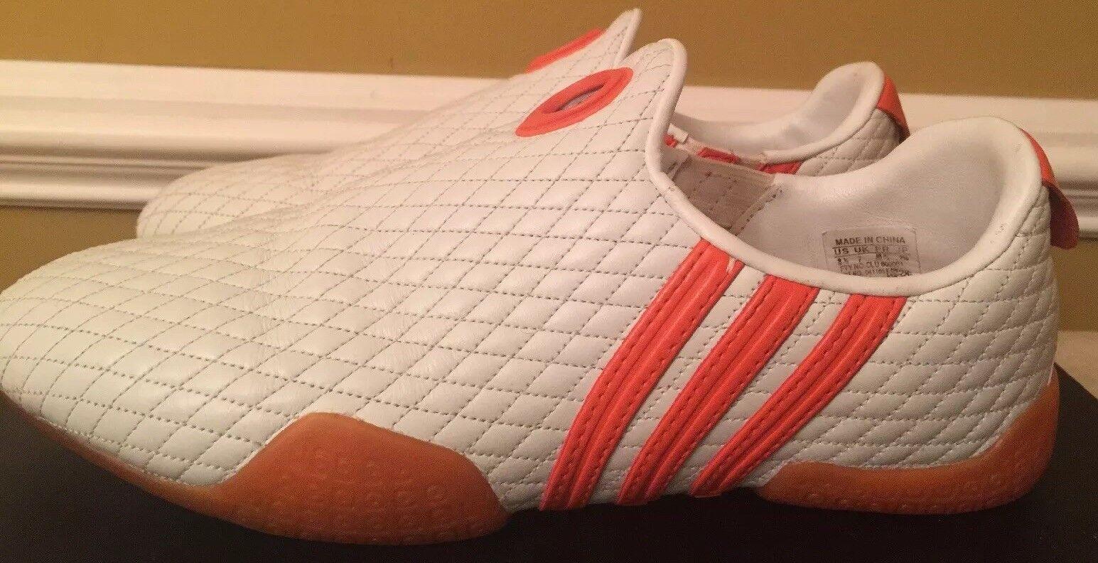 Adidas shoes Leather White  Three Stripes orange Size 8.5