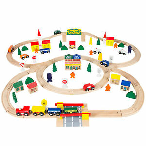 100pc Hand Crafted Wooden Train Set Triple Loop Railway Track Kids Toy Play Set for $34.95 online deal