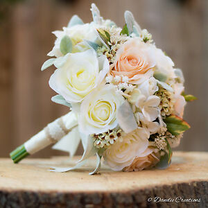 Wedding flowers bridal bouquet in mixed silk flowers peach ivory image is loading wedding flowers bridal bouquet in mixed silk flowers mightylinksfo