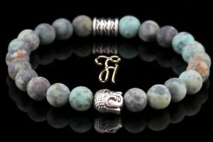 Afrik-Tuerkis-Armband-Bracelet-Perlenarmband-Buddhakopf-Silber-8mm