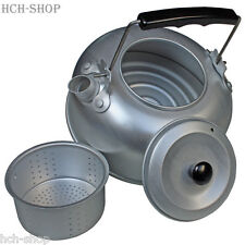 Kleiner Aluminium Camping Teekessel mit Teesieb Wasserkocher mit Deckel 1 ltr