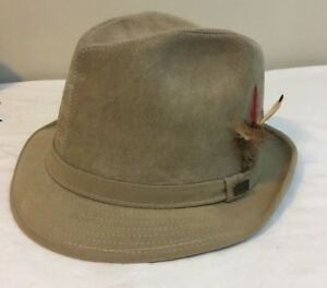 Details about Dobbs Fifth Avenue New York Men s Suede Leather Hat Fedora 7  Tan Free Shipping 78a02a249525