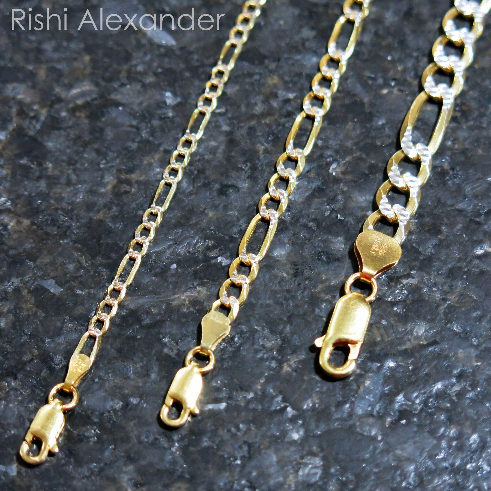 14k Gold over Sterling Silver Pave Diamond Cut Figaro Mens Bracelet or Necklace