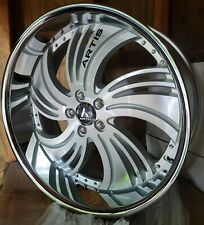24 Inch Silver Brushed Artis Avenue Staggered 5x120 5x475 Wheels Rims 22 26