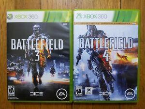 USED - XBOX 360 Battlefield 3 + Battlefield 4  - Lot of 2 Bundle - Free Shipping