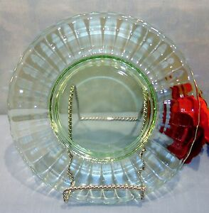 Anchor-Hocking-Block-Optic-Green-Depression-Glass-Luncheon-Plate-8-1-4-034
