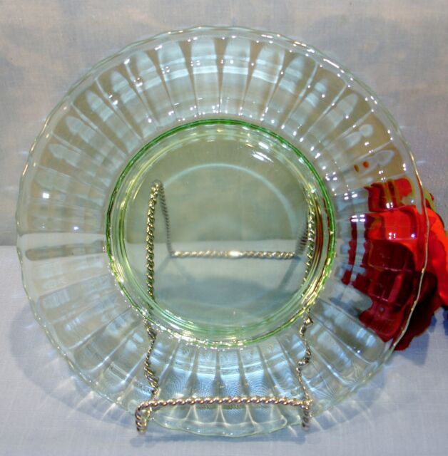 Anchor Hocking Block Optic Green Depression Glass Luncheon Plate 8 1/4