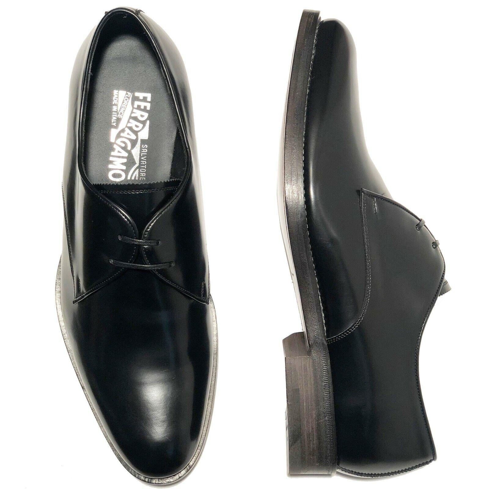 Ferragamo Men's Leather 10 EE 43 Black new shoes Oxford shoes Tuxedo Wedding Formal