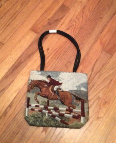 Hunter jumper steeplechase fox hunt Morgan horse Ladies Handbag Purse tapestry