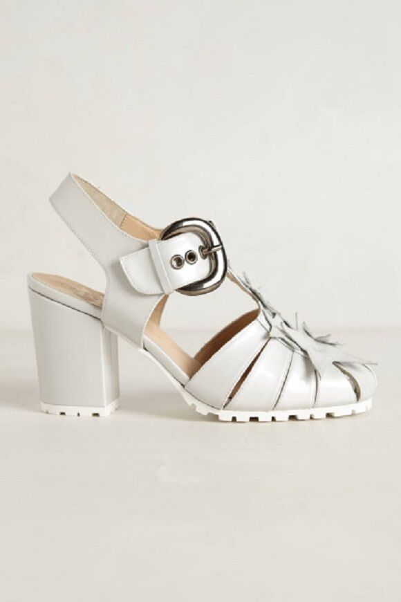 ANTHROPOLOGIE  41 or SILVER 10.5 MINNA PARIKKA HEEL SILVER or PATENT LEATHER $498 890c4f