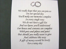 Wedding Poems | 20 Wedding Poems Asking For Money Gifts Not Presents Ref No 1 Ebay