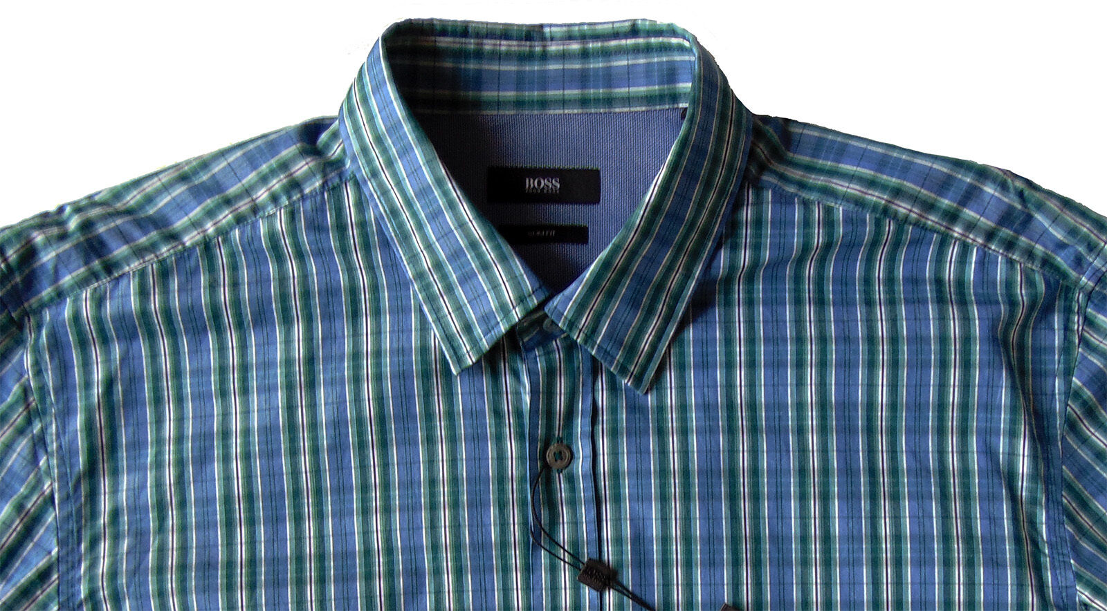 Men's HUGO BOSS Green bluee Plaid RONNY Shirt XL X-Large NWT NEW  Slim Fit