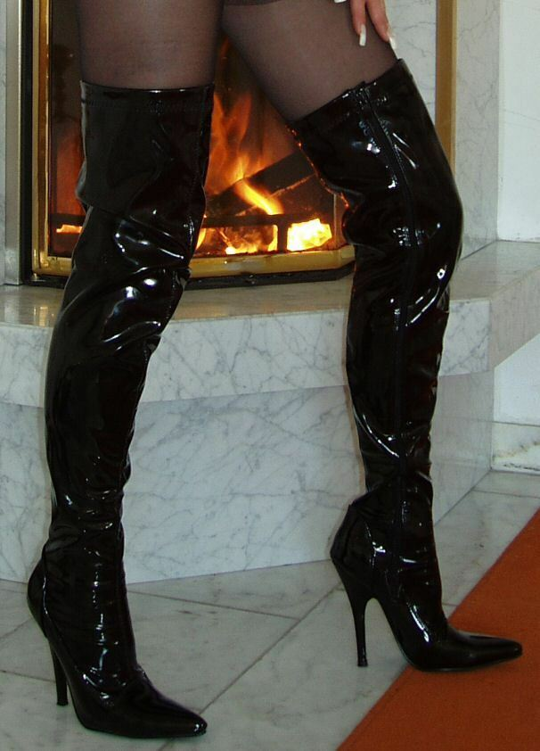 High Heels Overknee Stiefel Schwarz 43 Lack Stiletto Absatz Klassisch