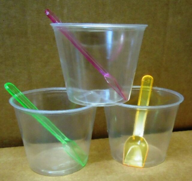 100 x Dessert cup with lid and Neon spoon,150ML Volume, Capacity marked at 125ML