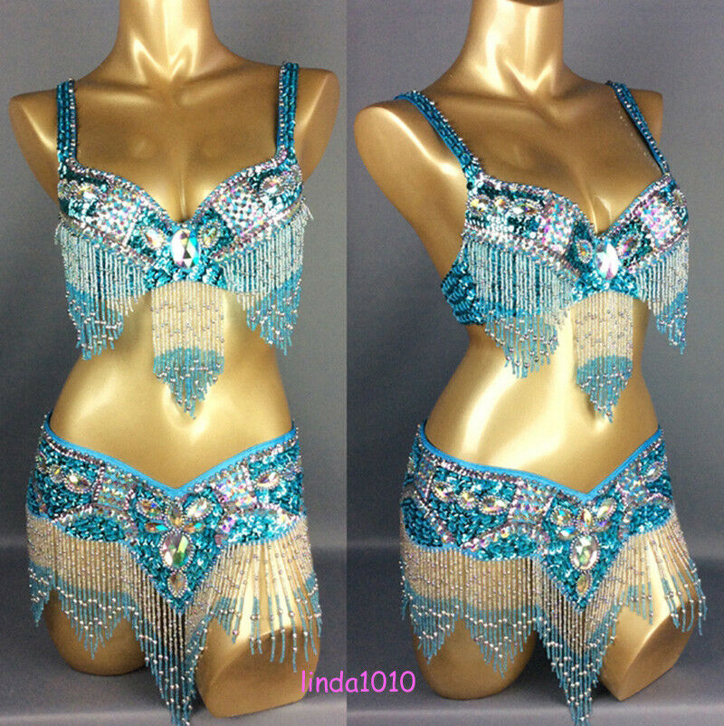 C0951 Bauchtanz Kostüm Belly Belly Belly dance Costume Outfit 2 Teile Oberteil BH Gürtel 977aa1
