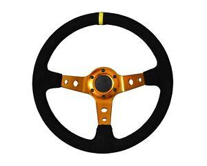 Rally-Drift-Style-Volant-En-Daim-Noir-or-Avec-Centre-espars-70-mm-PCD-13-034