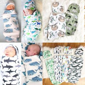 2Pcs-Infant-Baby-Dinosaur-Blanket-Swaddle-Muslin-Wrap-Swaddling-Sleeping-Bag-Hat