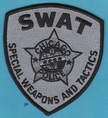 CHICAGO ILLINOIS SWAT POLICE SHOULDER PATCH  (Subdued Gray)