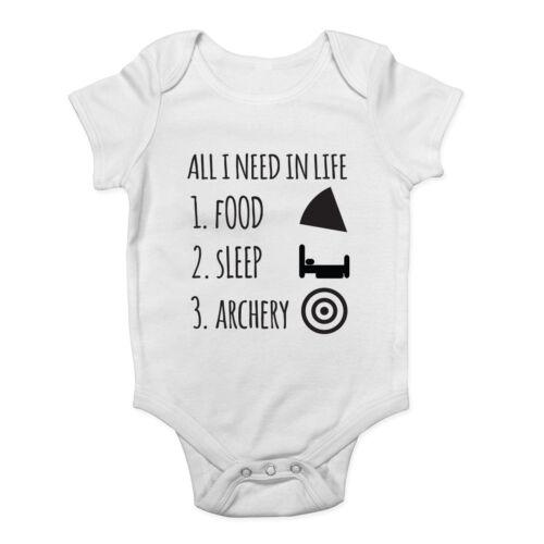 Todo lo que necesito en la vida es sueño de alimentos y tiro con arco Chicos Chicas Bebé Crecen Chaleco Body