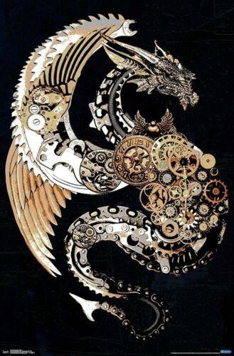 22x34-18107 STEAMPUNK DRAGON ART POSTER
