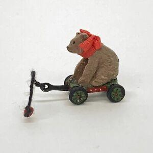 Dollhouse-Miniature-Metal-Pull-Toy-Gray-Bear-In-Green-Wagon-Black-Wheels-5-8-034