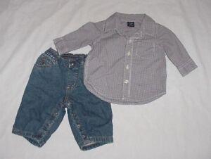 0a48955ab9f0 EUC Baby GAP Boys FABLED EXPLORER Red   Blue Plaid Shirt   Denim ...