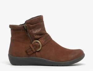 Earth Spirit FAIRFAX Ladies Winter Warm Zip Up Nubuck Leather Ankle Boots Bark