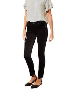 Loft Mujer Terciopelo Flaco Pantalones Talla 0 25 Pequena Nwt Medio Negro 0p Ebay