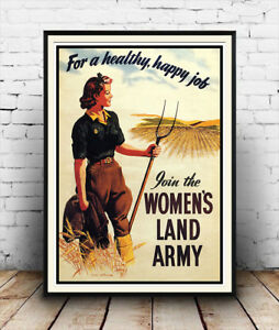 Reproduction poster Wall art. Join the Women/'s land army old WW2 info poster