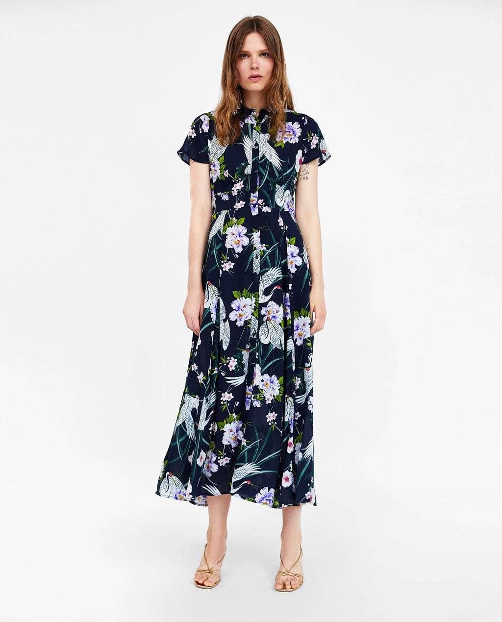 Zara Bleu Taille Marine Long Imprime Floral Robe Chemise Taille Bleu