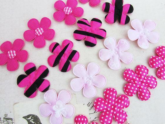 40 Fuchsia & Pink Assorted Design Fabric Flower Applique/Craft/Sewing/Bow H529