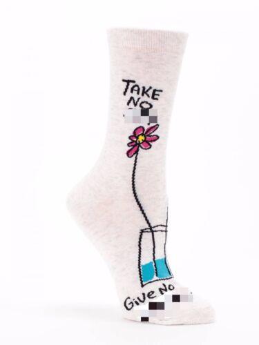 OSFA Give No F**** Blue Q Women/'s Crew Novelty Socks Take No S*** White