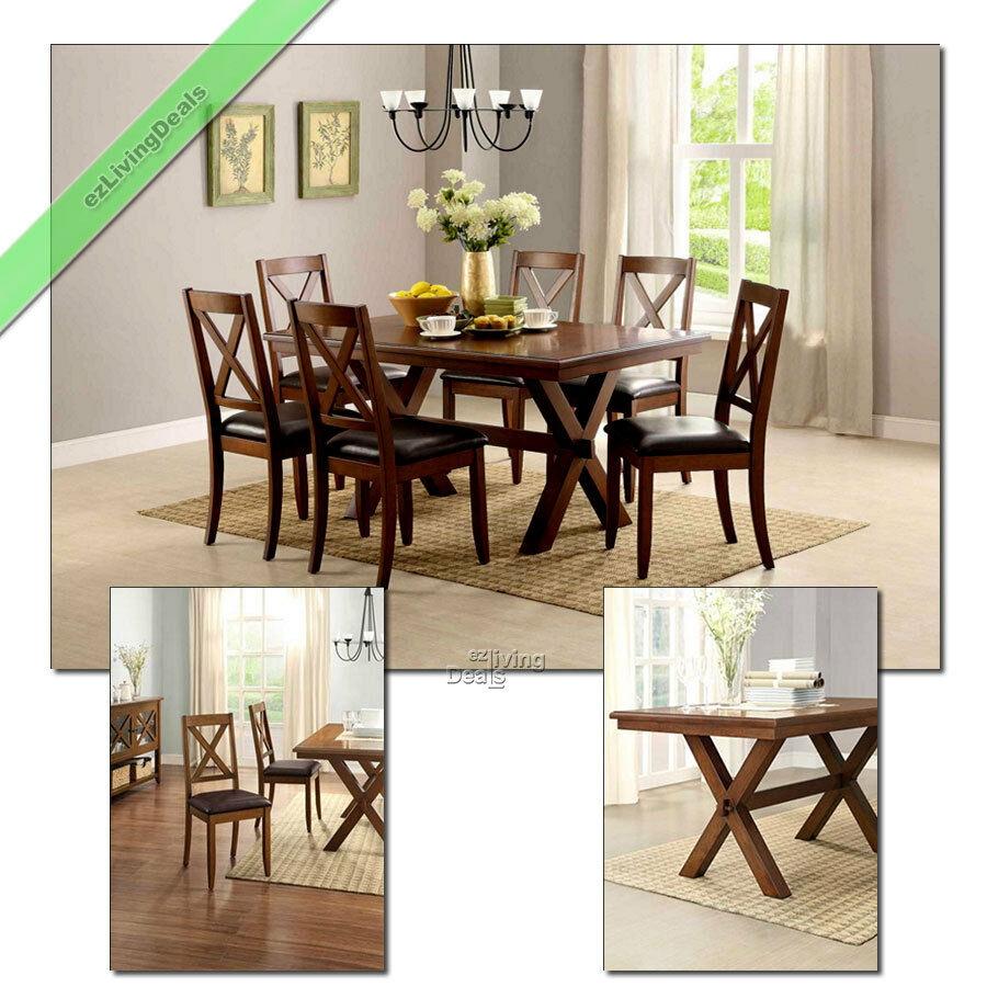 Dining Set 7 Piece Farmhouse Maddox Wood Table Chairs Country Room on