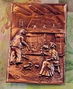Ancienne Plaque Ornement Cuivre Relief Emboutis Couple Coin Du Feu Vintage 1970 Bas Prix
