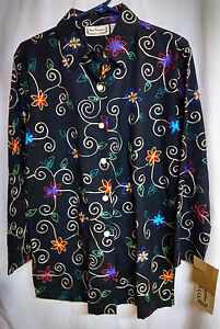 New-Directions-Black-Floral-Long-Sleeve-Shirt-Top-Buttons-Down-Front-Small-NWT