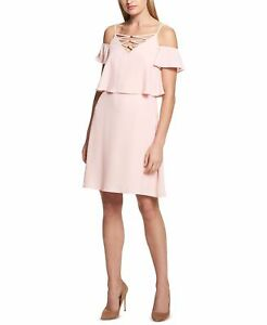 e0538d5102  198 KENSIE Womens PINK LACE-UP-NECK COLD-SHOULDER FLARED SHIFT ...